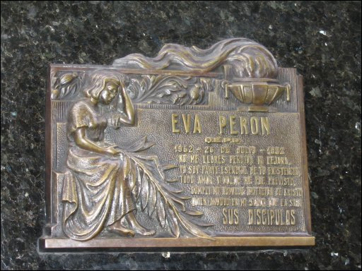 Photo of plaque for Evita