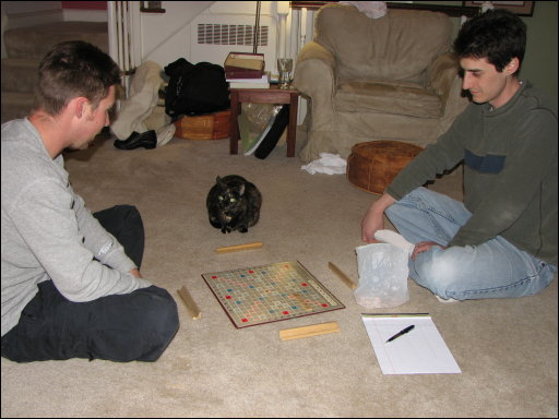 Robert, Cecilia, and Brian getting ready to play Scrabble
