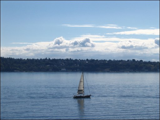 Boat in Puget Sound behind Pike's Place