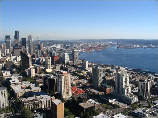 View of Puget Sound and Seattle from the Space Needle