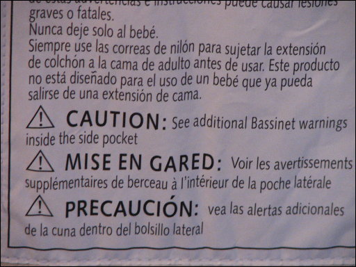 Arm's Reach Co-sleeper safety warnings label